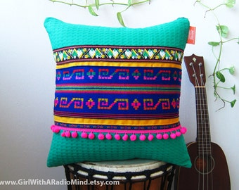 Mexican Folk Tribal Pillow Turquoise Blue Green - Bright Happy Cushion Cover