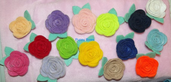 Puppy Bows ~ Girl OR Boy Sweet felt ROSE flowers mint green leaves pet dog hair bow clip or latex bands ~Usa seller (fb8)