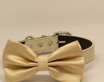 Ivory Wedding Dog Bow Tie, Pet Wedding Accessory, Puppy Lovers