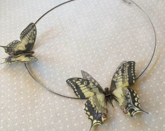 Flying - Handmade Necklace Choker with Swallowtail Pale Yellow Butterflies in Cotton and Silk Organza