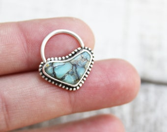 Sterling Silver Septum Ring Handmade With Seven Dwarves Turquoise 16 Gauge