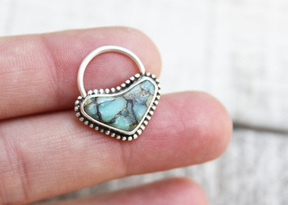 Sterling Silver Septum Ring Handmade With Seven Dwarves Turquoise 16 Gauge