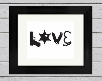 Deputy Sheriff LOVE Silhouette Print (6pt star) | Law Enforcement Gift | Sheriff Wife | Sheriff Girlfriend | Anniversary Gift | Wedding Gift