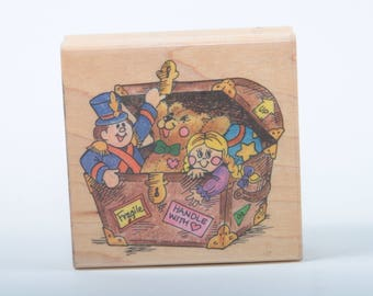 Toy Treasure Trove, Stampendous, Toy chest, Fun Stamps, Single Stamp, Wood Mounted, Rubber, Vintage, Scrapbooking ~ 160912