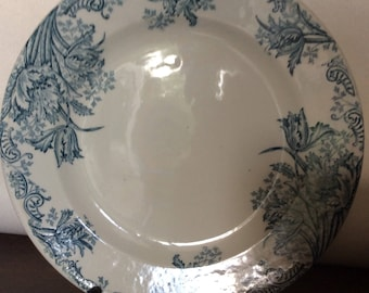 Set of 4 vintage French earthenware transferware ironstone dessert plates