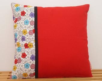 Housse de coussin, lapinous et des fleurs / Pillow, cushion cover, rabbits and flowers