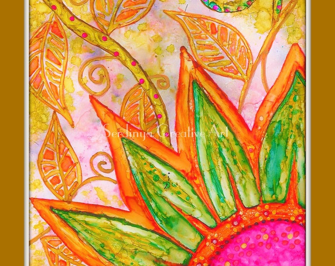 Colourful abstract sun and flowers. Blank original hand painted greetings art card. Wall art print. A4, A3. Alcohol ink artwork.