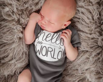 Hello World Newborn Baby One Piece, Pregnancy Announcement, Coming Home Outfit, Personalized Baby Shower Gift, Gender Neutral Infant Clothes
