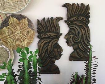 vintage carved wood warriors wall hanging El Salvador