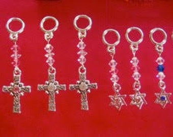 Cross and Star of David ... Hearing Aid Charms or Earrings