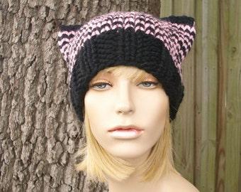 Knit Hat Womens Hat - Cat Beanie Hat in Black and Blossom Pink Knit Hat - Black Hat Pink Hat Black Beanie Pink Pussyhat Pink Pussy Hat