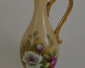 Vintage Lefton China Hand Painted Bud Vase NE2763 Brown With Gold Trim Red Lefton Label on Bottom Very Good Excellent Condition