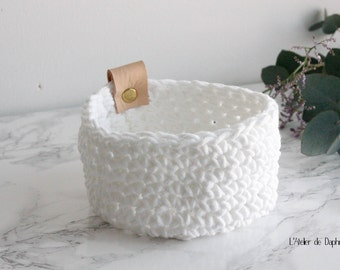 Crochet basket and white leather