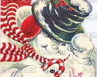Retro Snowman Christmas Card #113 Digital Download