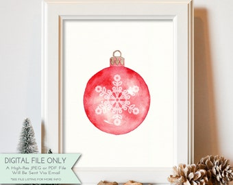 Holiday Ornament Print - Watercolor Print - Holiday Print- Winter Home Decor - Xmas Printable - INSTANT DOWNLOAD Digital File Only {8x10}