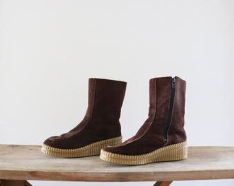1970's russet suede snow boots / 6