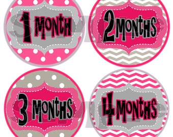 Monthly Stickers Month to Month Baby Shower gift baby stickers Onepiece Infant month stickers Girl pink gray polka dots Milestone stickers