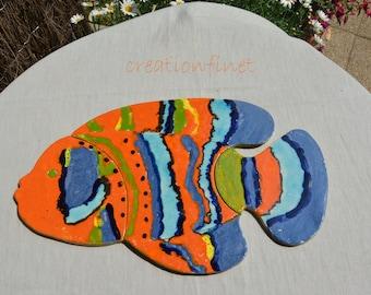 """Bottom of flat fish puzzle """"estéron"""" earthenware"""
