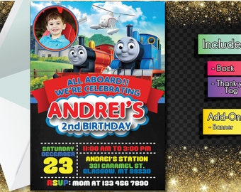 Thomas and Friends INVITATION with FREEEE Thank you card! Thomas and Friends Party Invitation, Birthday Banner