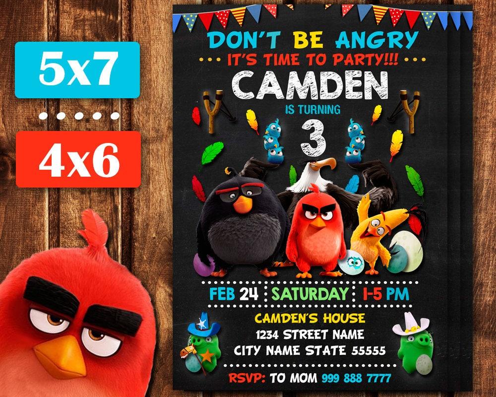 Angry Birds Invitation Angry Birds Birthday Invitation Angry