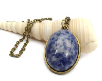 Blue Sodalite Gemstone Pendant Necklace, Long Midnight Blue Boho Necklace