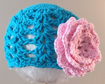 Beanie Hat Crocheted RTS 6-12 Month Mod Blue, Pink Open Weave Style