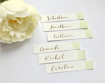 Watercolour wash calligraphy place cards - weddings, events