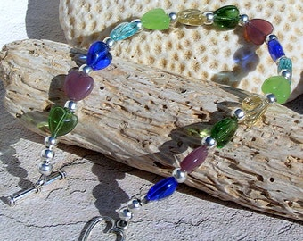 Silver  Bracelet with Glass Hearts, Jewelry