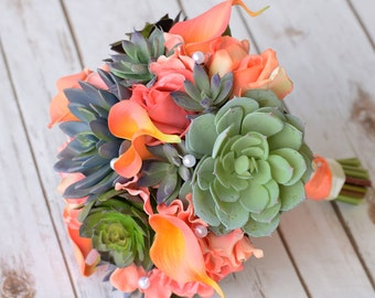 Wedding Natural Touch Succulents and Orange Peach Roses Silk Flower Bride Bouquet