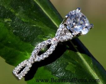 Diamond Engagement Ring - 1.00 carat Round - Pave - Antique Style - 14K white gold - Weddings- Luxury- Brides -bp004
