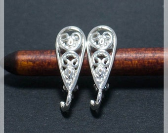 Sterling Silver Leverback, Ear hooks, Ear wire, earrings components B10