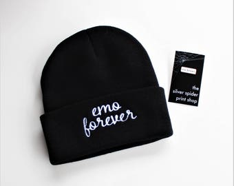 "Emo Forever Black Knit Embroidered Beanie and Lapel Pin Set - 1"" hard enamel, white and rose gold, music lover gift"