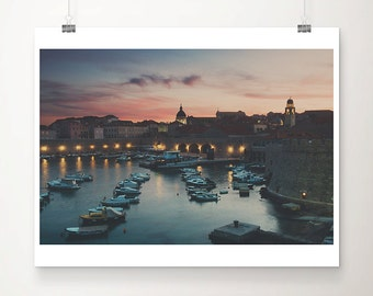 Dubrovnik photograph boat photograph harbor photograph sunset photograph Adriatic Ocean photograph travel photography Croatia photograph