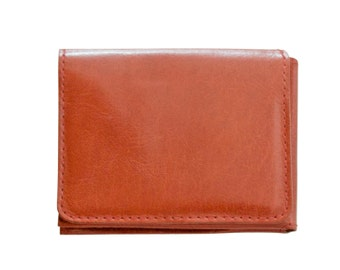 Men's tan leather wallet, brown trifold wallet - the Casino