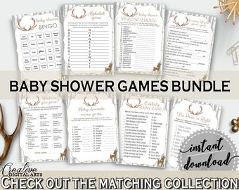 Games Baby Shower Games Deer Baby Shower Games Baby Shower Deer Games Gray Brown party organising, party organizing, party plan - Z20R3