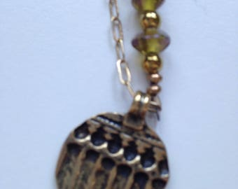 Czech and Brass Pendant Necklace