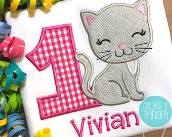 Kitty Birthday Shirt / Kitty Applique / Girl Kitty Birthday / Cat Birthday / Kitty Cat 1st Birthday / Girl Birthday / Gingham Kitty Shirt