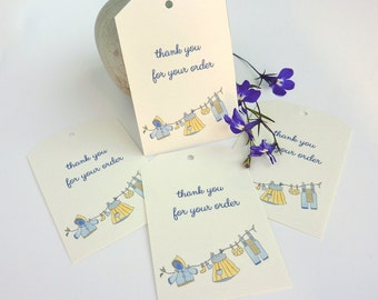 """Handmade baby clothes and accessories """"Thank you for your Order"""" Tags - packs of 10 -  add to your outgoing orders, on ivory textured card."""