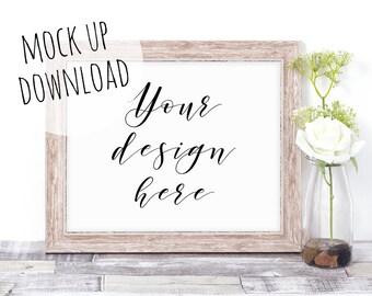 Elegant Landscape Wooden Frame Mock Up, Simple Product Mockup Photography For Print Shops