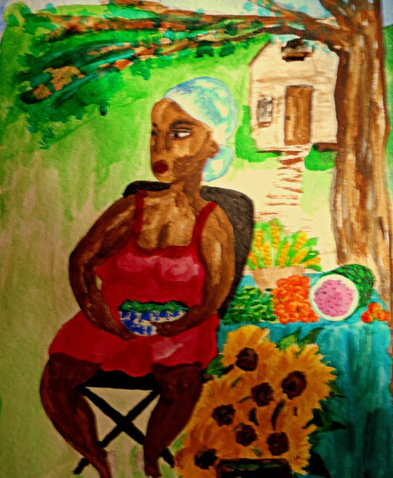 """ROADSIDE - India Ink, 9.5 X 11"""" Woman selling roadside produce, African American Art by Artist, Stacey Torres"""