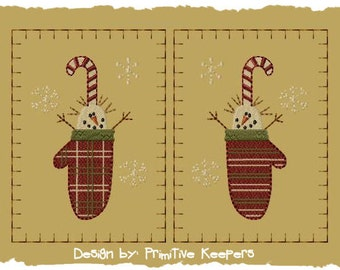 Primitive Machine Embroidery Design-Winter Mittens-Version 1-(2 Designs)-Large-INSTANT DOWNLOAD