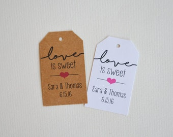 Love is Sweet Custom Wedding Favor & Gift Tags - White Matte or Kraft Brown Small Label Tags