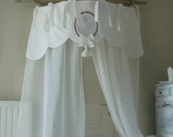 Bed curtain. French antique linen and linen veil. Feston.Ponpon and Monogram