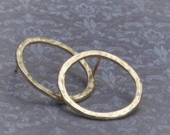 Gold circle stud earrings , Gold stud earrings, gold plated hammered stud earrings