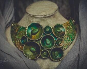 Green Statement necklace polymer clay Bib necklace boho necklace faux sea glass necklace  Klimt necklace  choker necklace clay jewelry