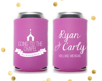 Going to the Chapel - Custom Can Cooler - Wedding Favor or Party Gift - Personalized State Huggie Coolie Koosie Engagement