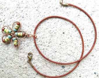 Flower pendant leather cord choker, flower choker, flower necklace, beaded wire wrapped copper flower pendant, copper pendant necklace