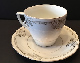 Teacup and Saucer ~ Gold and White ~ Embossed ~ Vintage