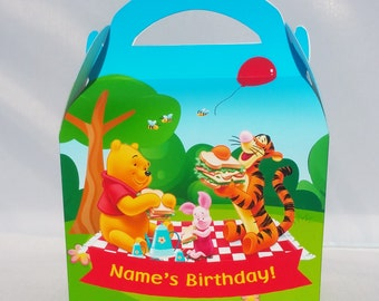 Wine the Pooh Personalised Children's Party Box Gift Bag Favour