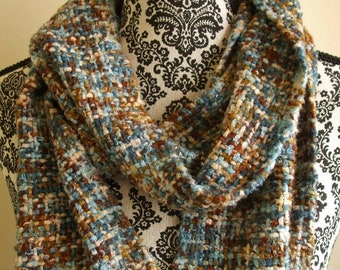 Blue and Brown Handwoven Scarf - Bamboo